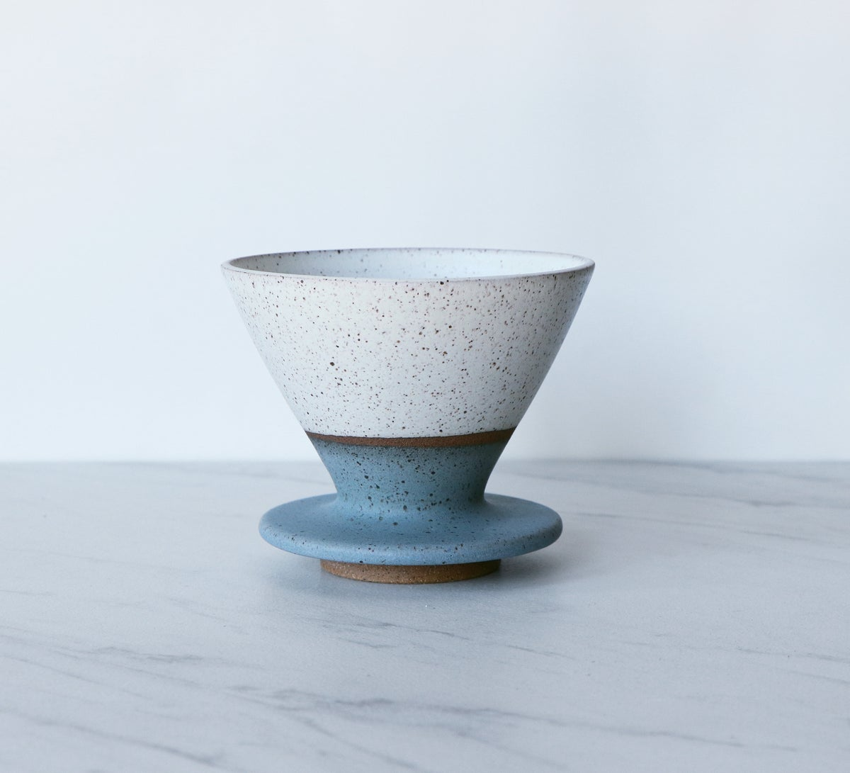 Image of Ceramic coffee pour over, speckled clay, glazed in cream + turquoise