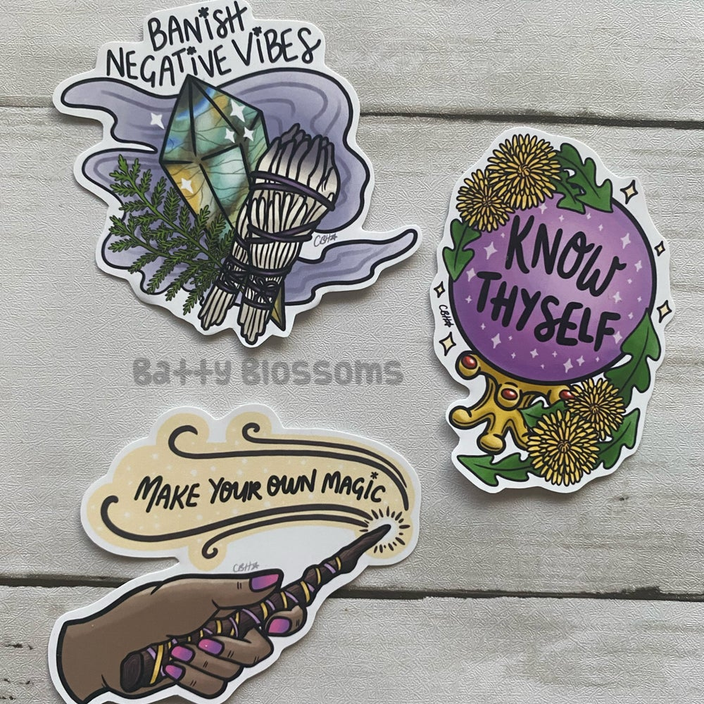Witchy Vibes Empowerment Sticker Pack (Set of 3 MEDIUM glossy vinyl stickers)