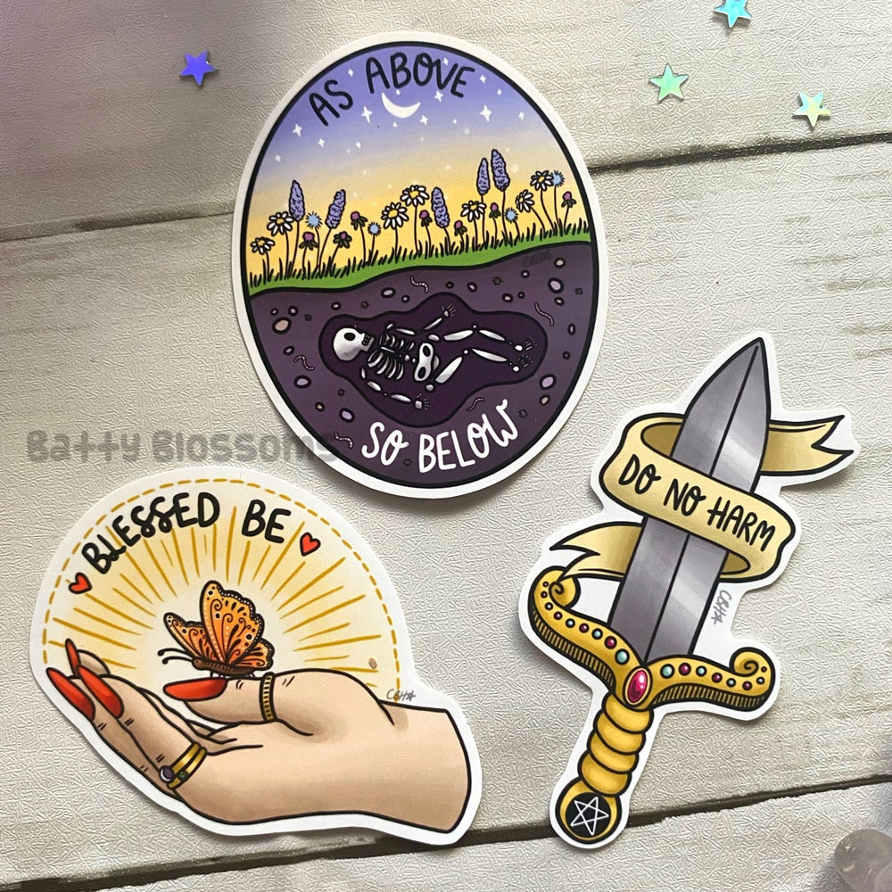 Witchy Vibes Rituals Sticker Pack (Set of 3 MEDIUM glossy vinyl stickers)