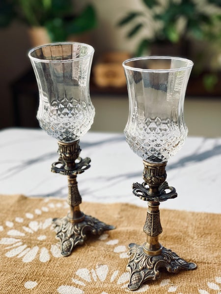 Image of Vintage pair of ornate brass Candlestands with cut glass votives
