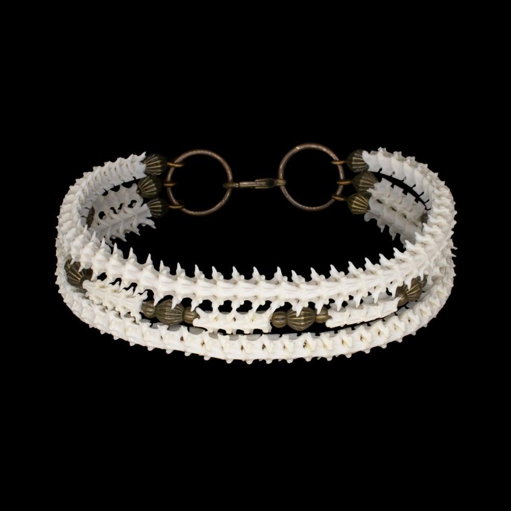 "Image of ""Karan"" Snake Vertebrae Triple Strand Bracelet"