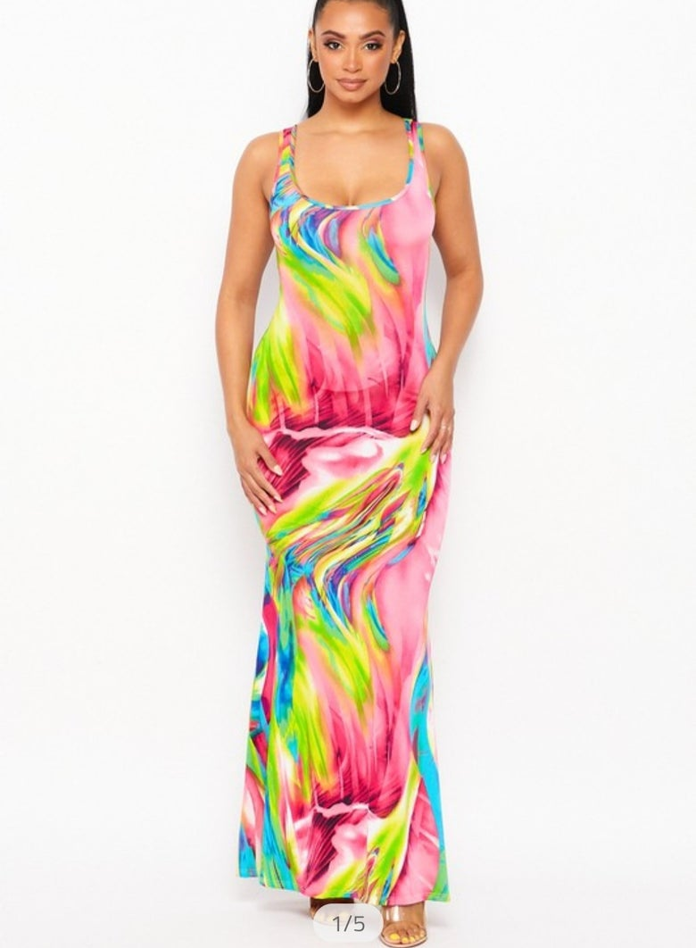 Image of Long multi color maxi dress