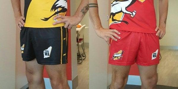 Image of Bushchook Footy Shorts (Black Shorts & Red Shorts)