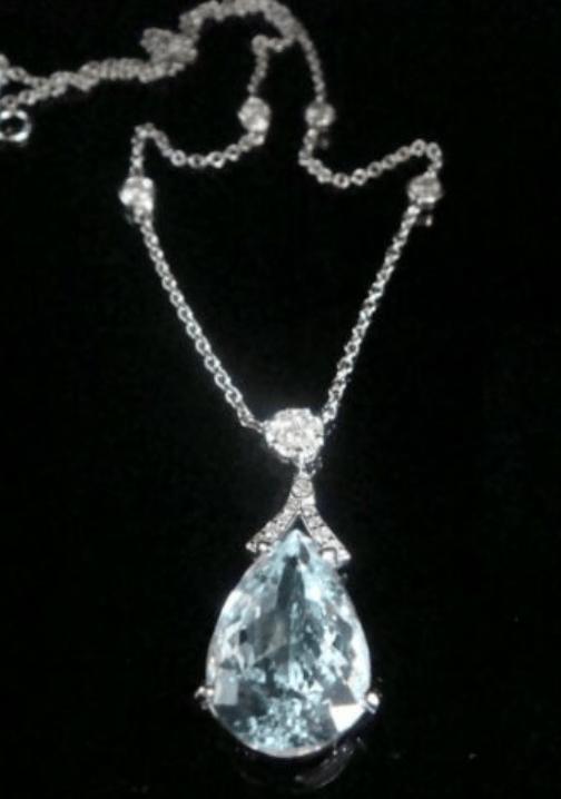 Image of Modern 18ct white gold natural aquamarine 6.76ct & diamond 0.68ct drop necklace