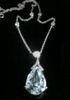 Modern 18ct white gold natural aquamarine 6.76ct & diamond 0.68ct drop necklace