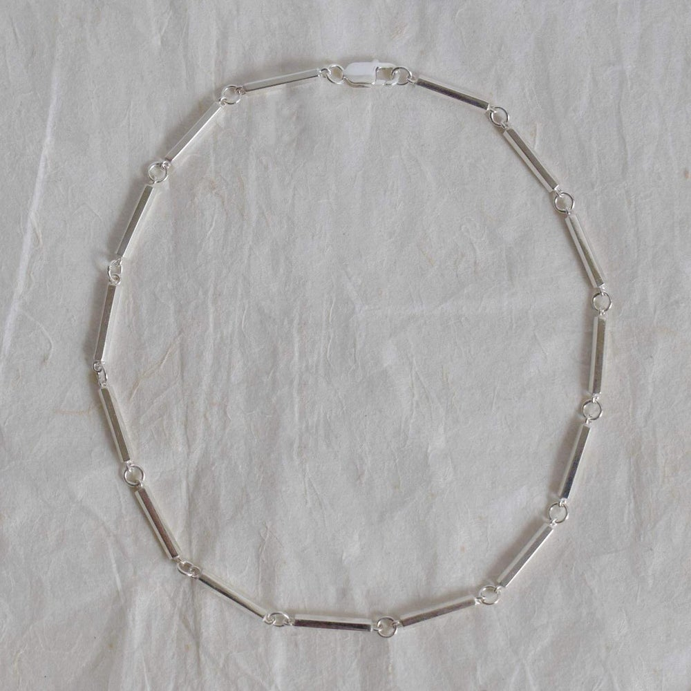 Image of Hexagon point links solid silver necklace