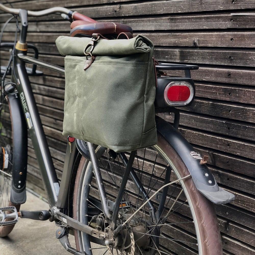 Image of Olive green waxed canvas saddlebag for Super73 Motorbike bag Motorcycle bag