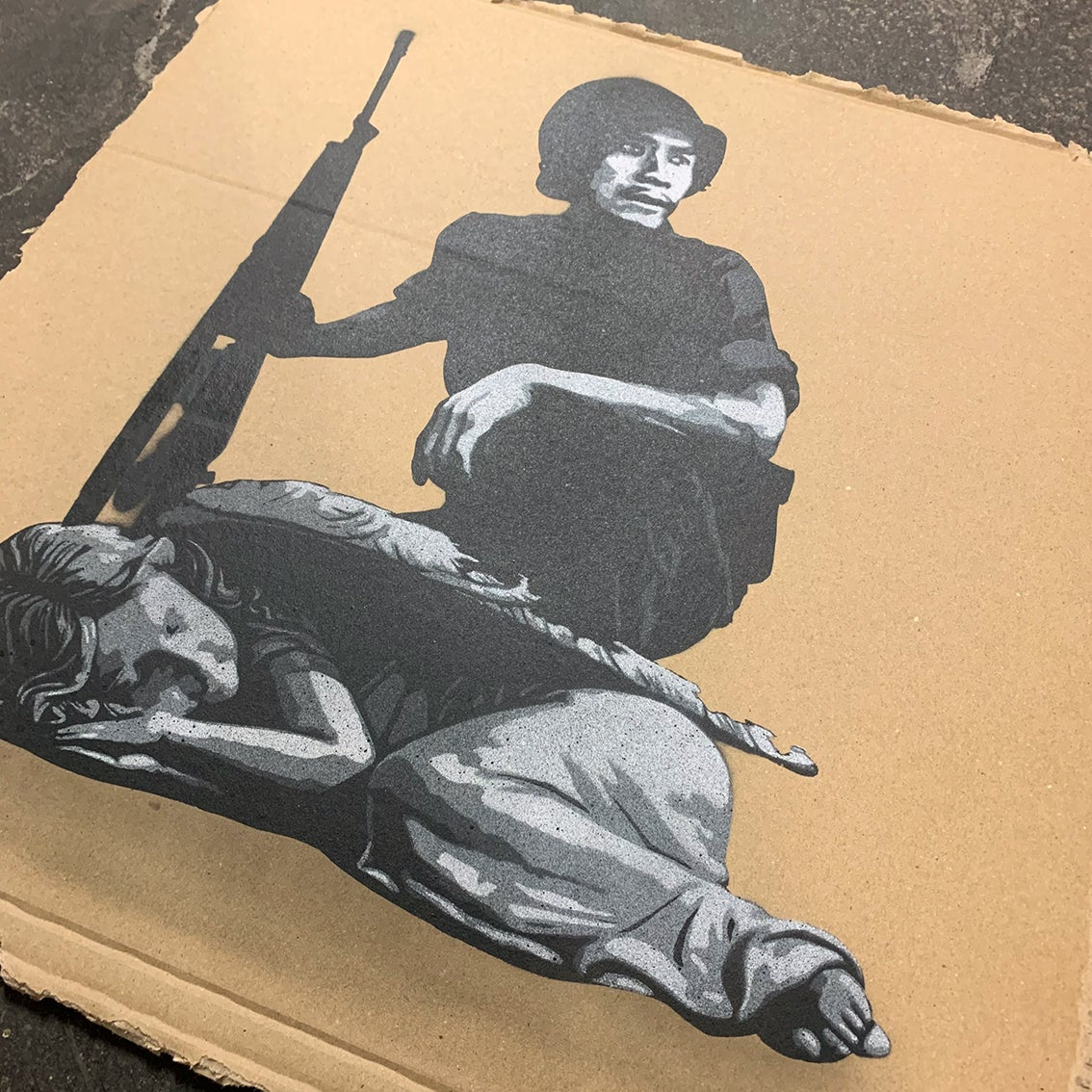 """Image of """"Wake Me Up When It's All Over"""" Unique 1/1 on Cardboard"""