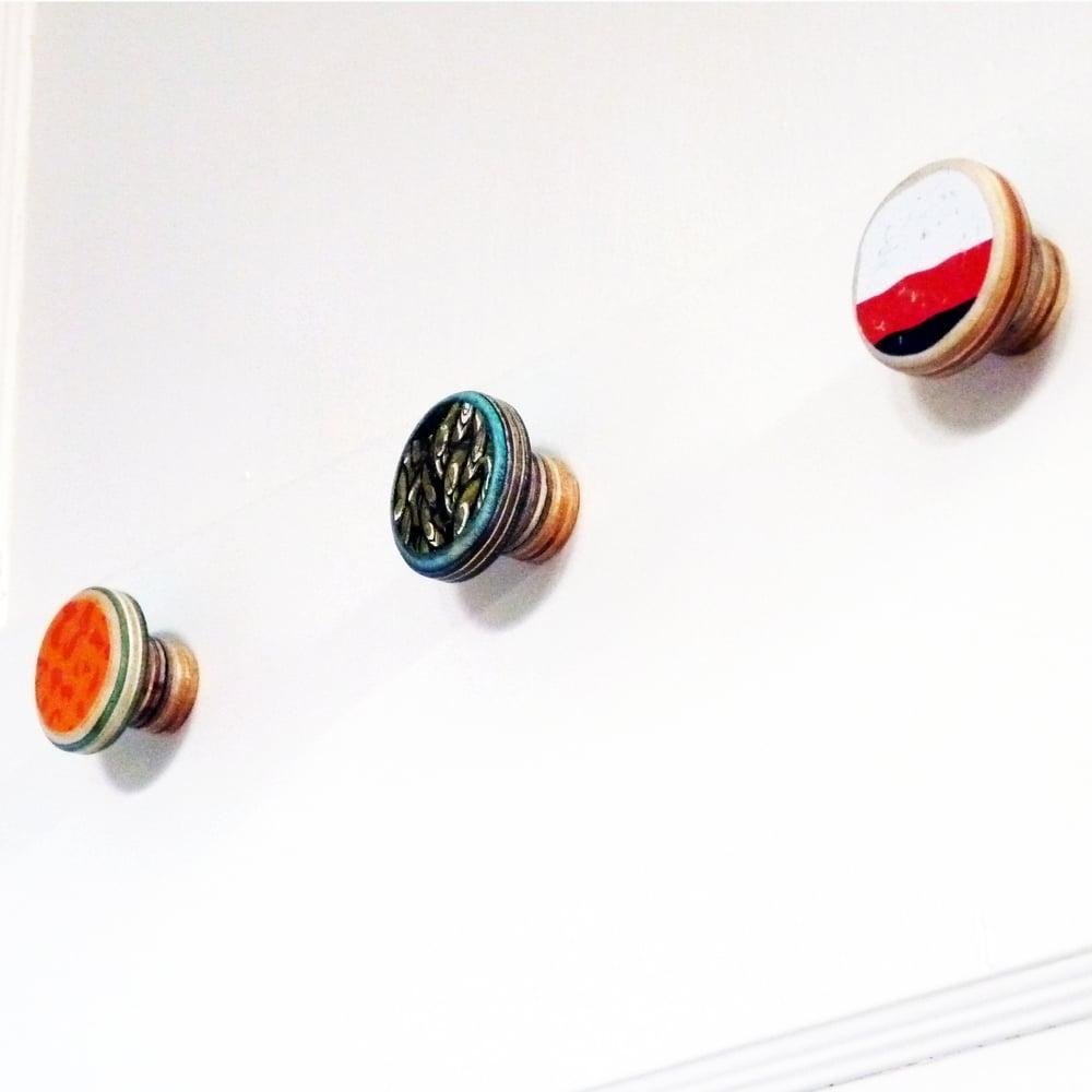 Image of Small and Long - SkateDot - Recycled Skateboard Round Dot Wall Hook
