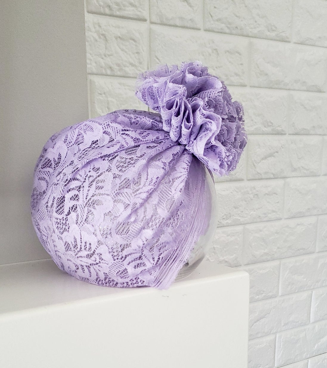 Image of Lilac lace blossom turban