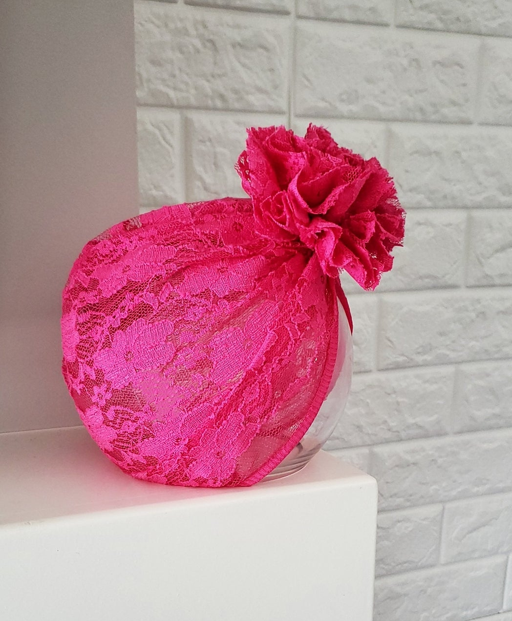 Image of Hot pink lace blossom turban