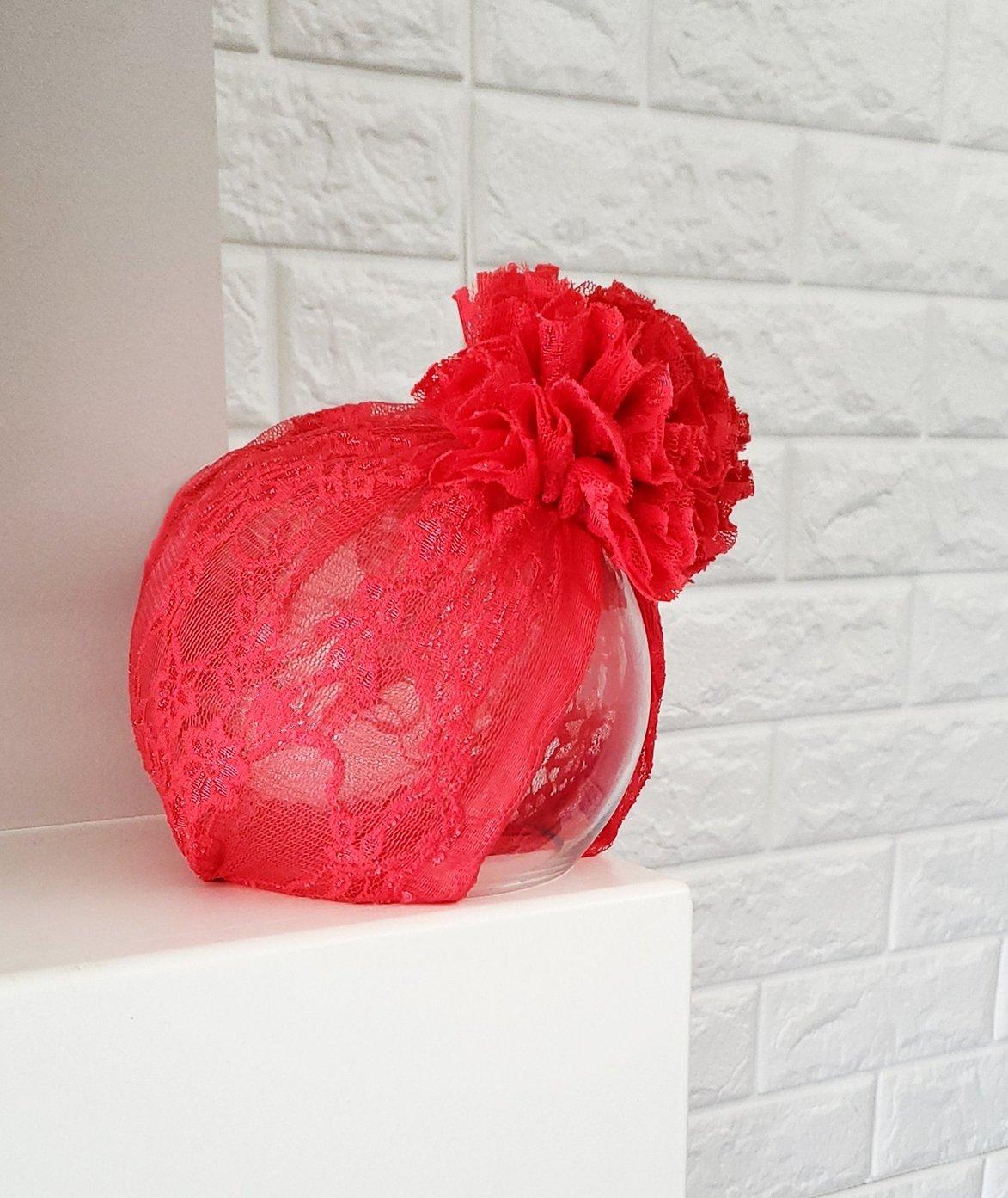 Image of Crimson lace blossom turban