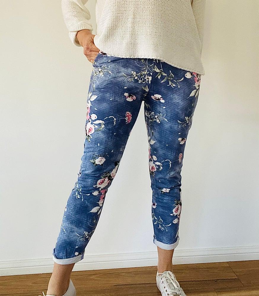 Image of Carolyn Floral Pants Demin