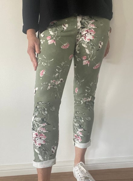 Image of Carolyn Floral Pants Khaki