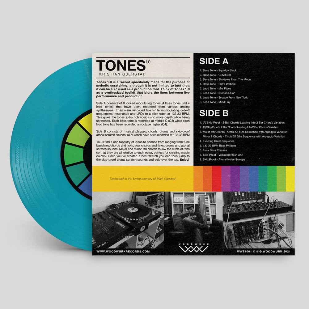 "7"" Vinyl (Turquoise) - Tones 1.0 by Kristian Gjerstad"