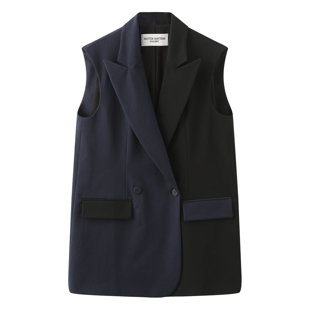 EMBROIDERED TWO-TONE SUIT VEST / Navy Black