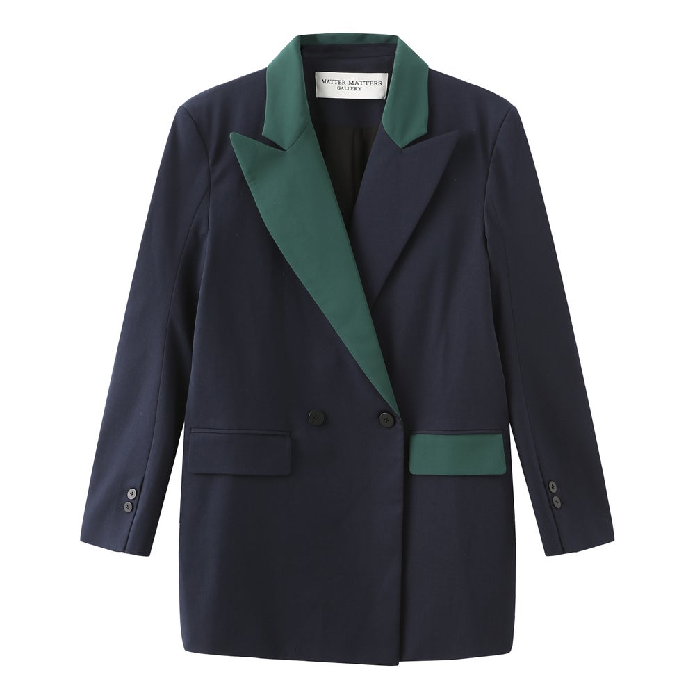 EMBROIDERED TWO-TONE OVERSIZED SUIT / Blue Green