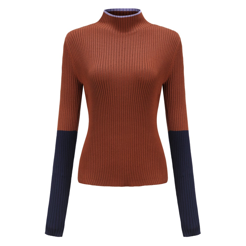 COLOUR-BLOCK RIBBED-KNIT TURTLENECK TOP / Brown