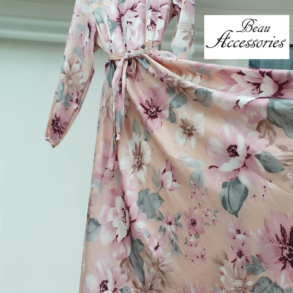 Image of Blush Pink Floral Satin Dress