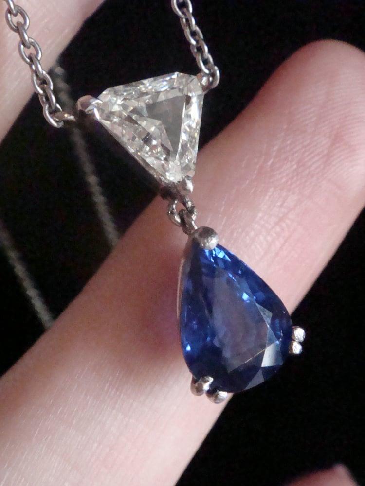 Image of 18ct white gold natural sapphire 1.60ct & trillion cut 1ct diamond drop necklace