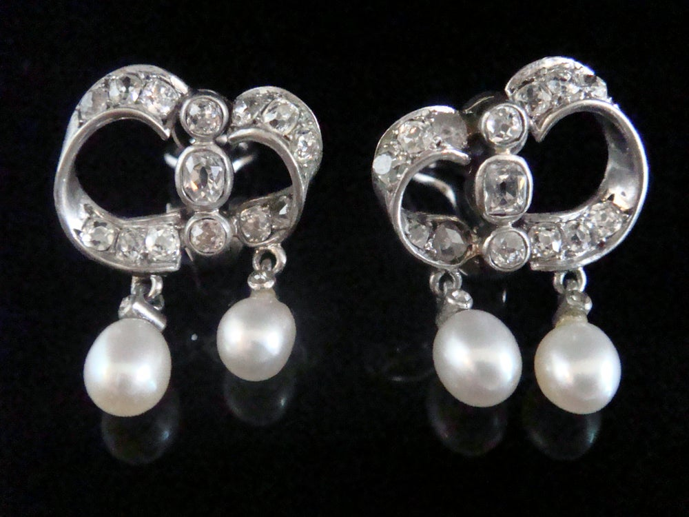 Image of VICTORIAN GEORGIAN 18CT SILVER FRENCH NATURAL PEARL OLD CUT DIAMOND EARRINGS