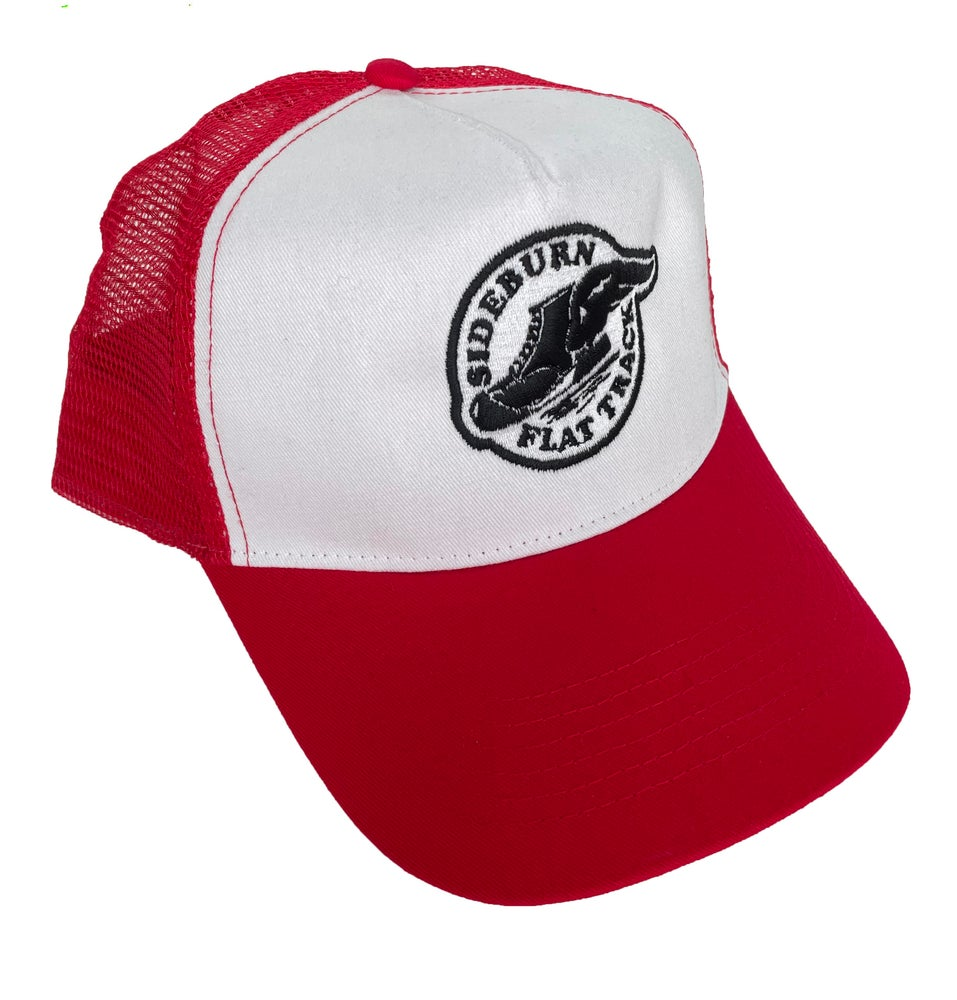 Image of Flat Track Trucker Cap - Red/White