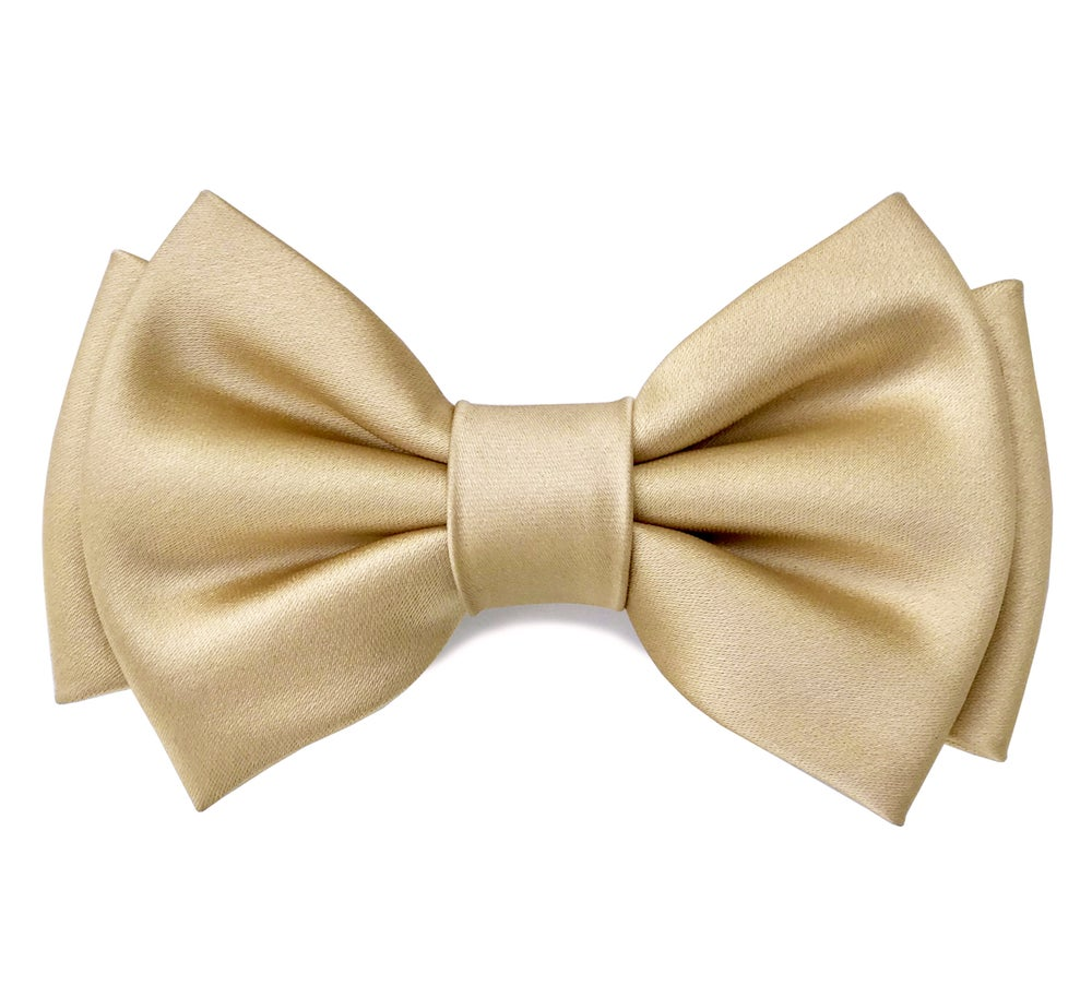 Image of Champagne satin pre-tied bow tie