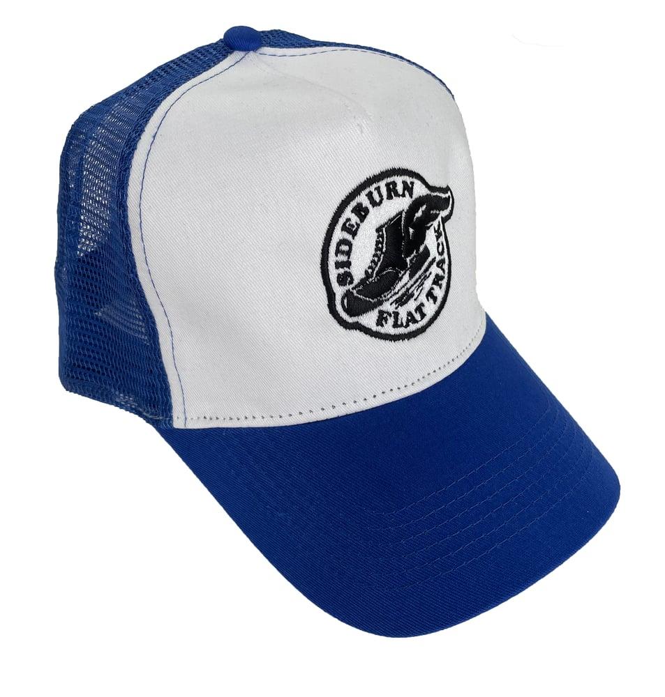 Image of Flat Track Trucker Cap - Blue/white