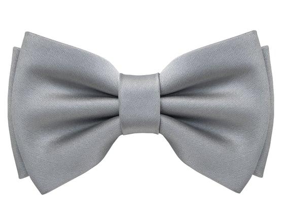 Image of Grey Satin pre-tied Bow Tie