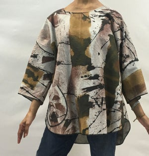 Image of Zena Top with hand Painted African inspired Design