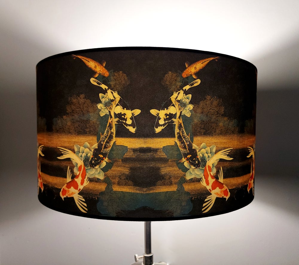 Image of Koi on Black and Gold Drum Lampshade by Lily Greenwood (45cm Diameter)