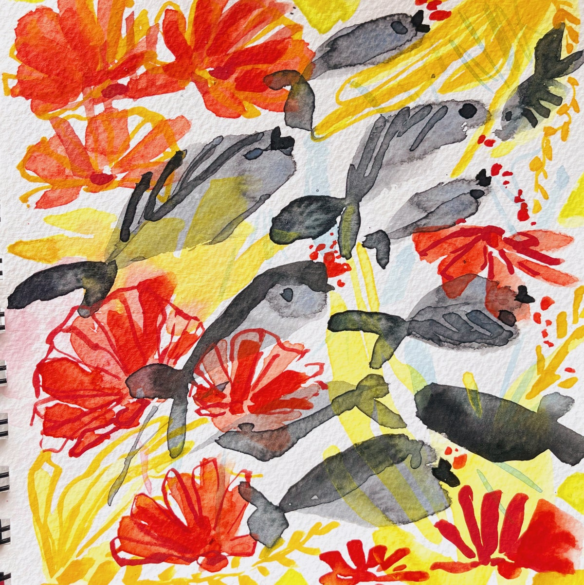 Image of Learn How to Paint Watercolor Fish & Beach Shell Pattern (LIVE)