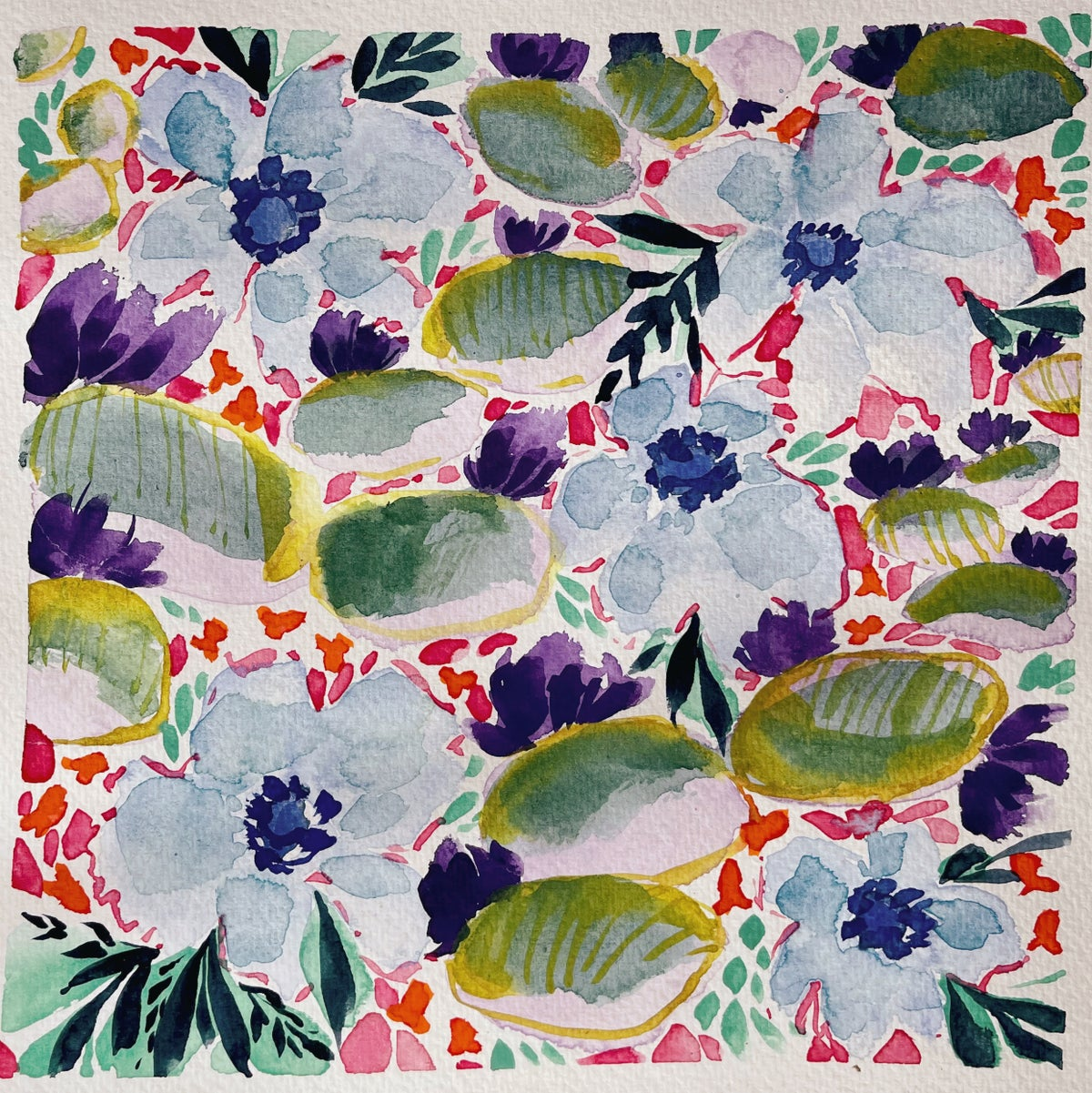 Image of Learn How to Paint Watercolor Lily Pad Pattern (NOT LIVE)