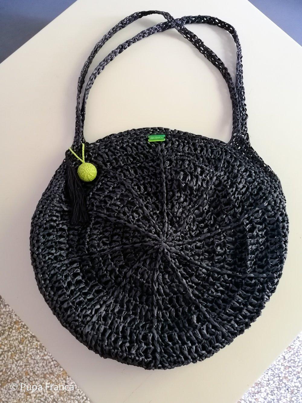 Image of Big Crochet Raffia Bag in Black