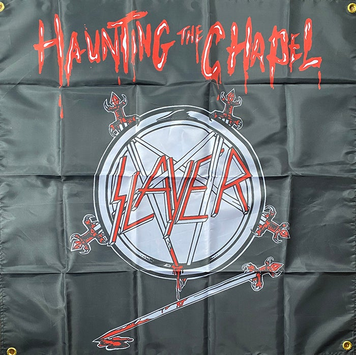 """Image of Slayer """" Haunting The Chapel """" Flag / Tapestry / Banner"""