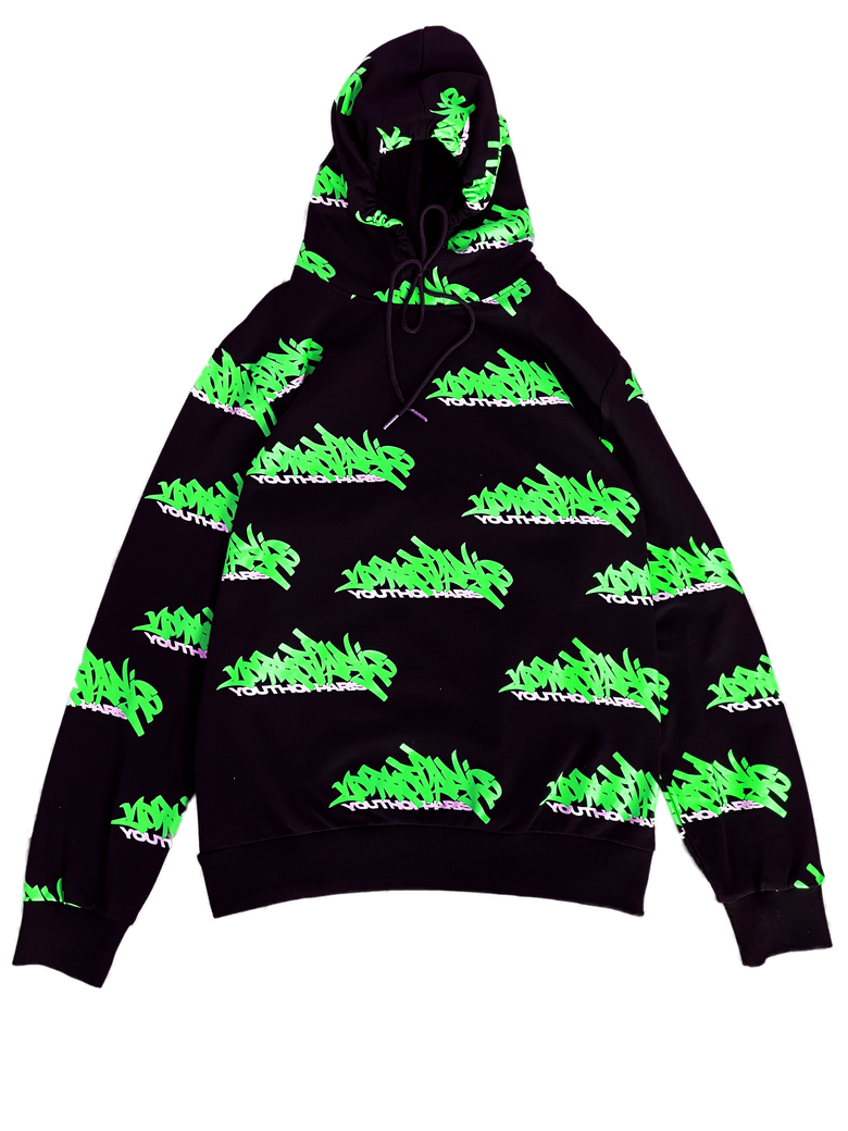 Image of YOUTH OF PARIS GRAFFITI ALLOVER BLACK HOODIE NEON GREEN VERSION