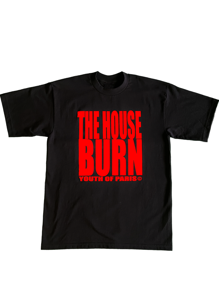 Image of YOUTH OF PARIS THE HOUSE BURN T-SHIRT RED VERSION (FRONT-BACK)