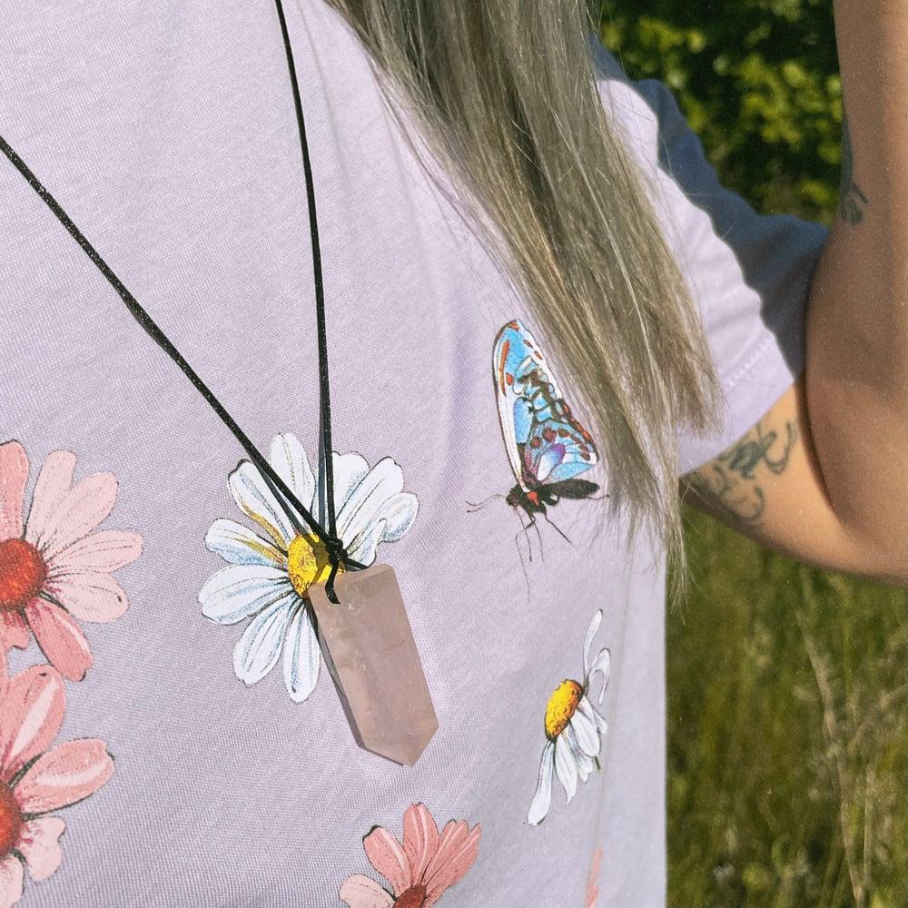 Image of Silene Crystal point necklace - Rose Quartz