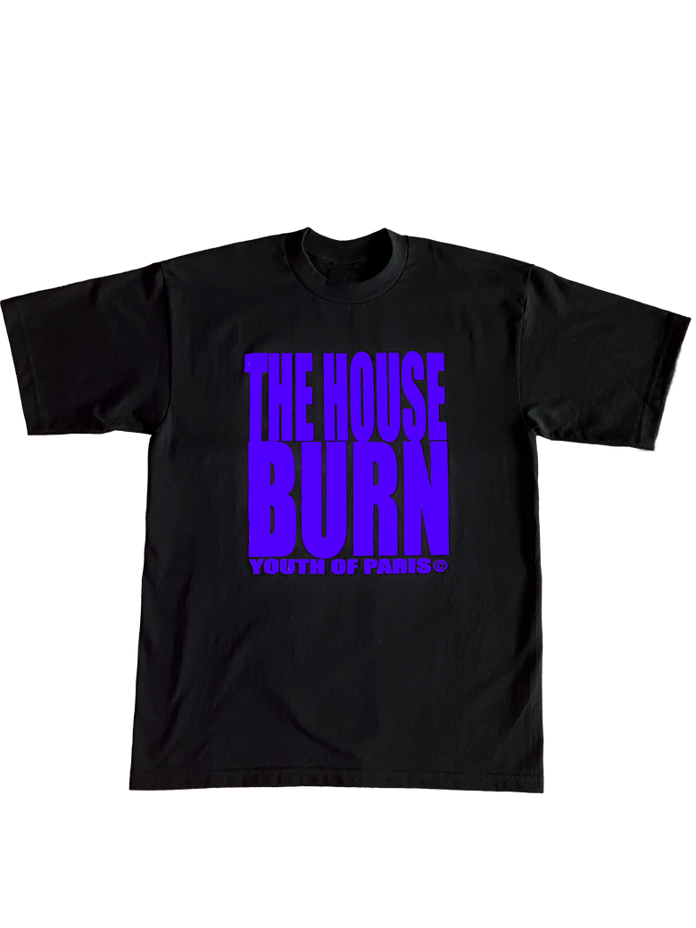 Image of YOUTH OF PARIS THE HOUSE BURN T-SHIRT PURPLE VERSION (FRONT-BACK)
