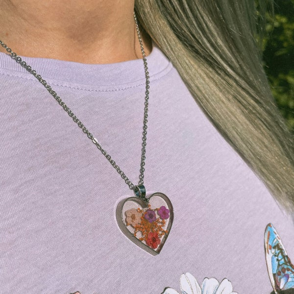 Image of Foxglove - Heart Shaped Pressed Flower necklace