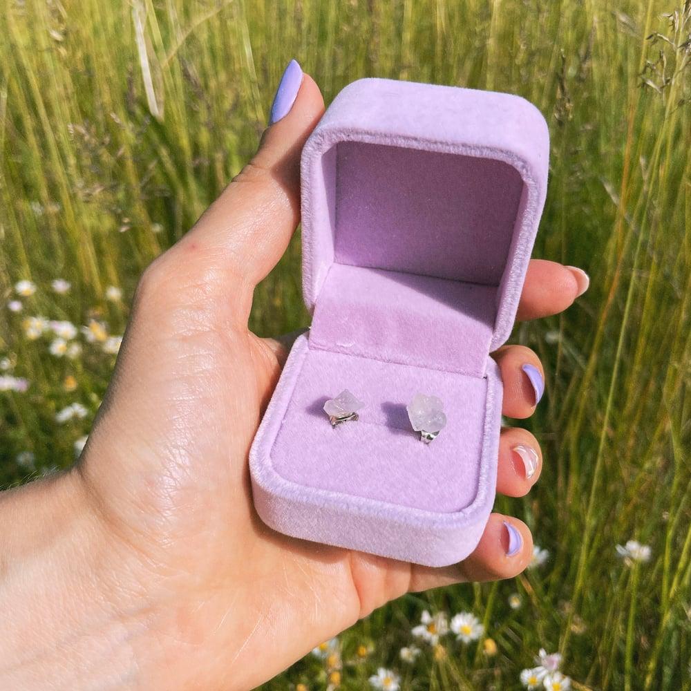 Image of Bergenia - Amethyst raw crystal stud earrings