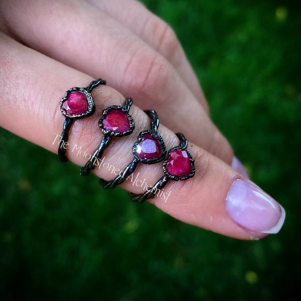 Image of Faceted Ruby Heart Stackers