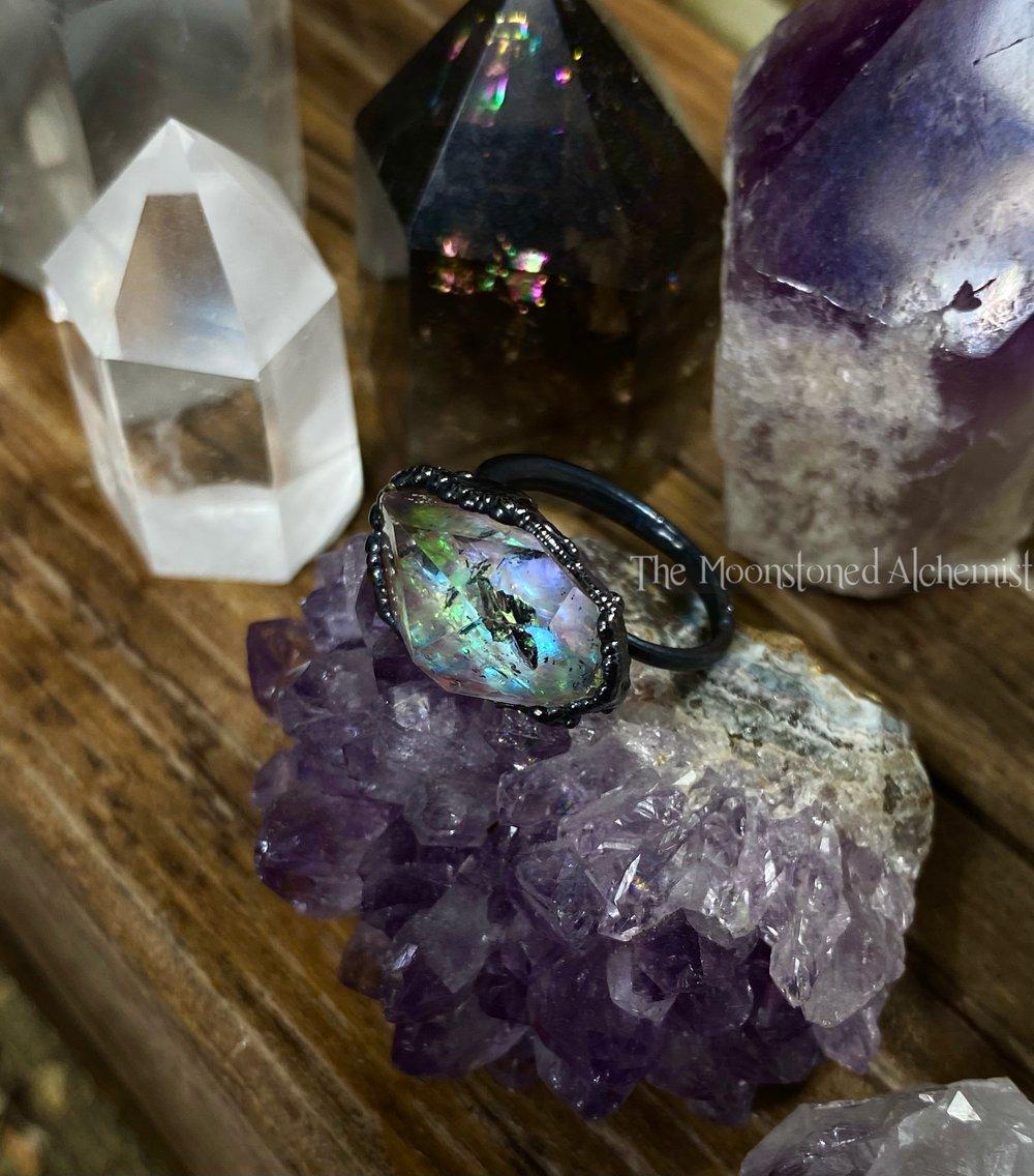 Image of Sz 4.5 Celestial Herkimer Diamond Ring
