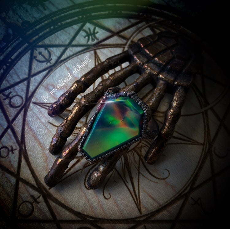 Image of Sz 7.5 Aurora Opal Coffin Ring