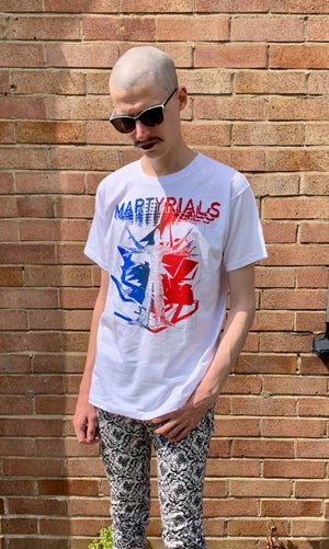 Image of 'CHAOS' T-SHIRT - WHITE WITH DUOTONE RED/BLUE PRINT [ONLY 4 MADE]