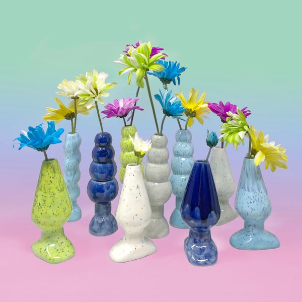 Image of Drippy Butt Plug, Ringed Butt Plug & Rocket Stem Vases