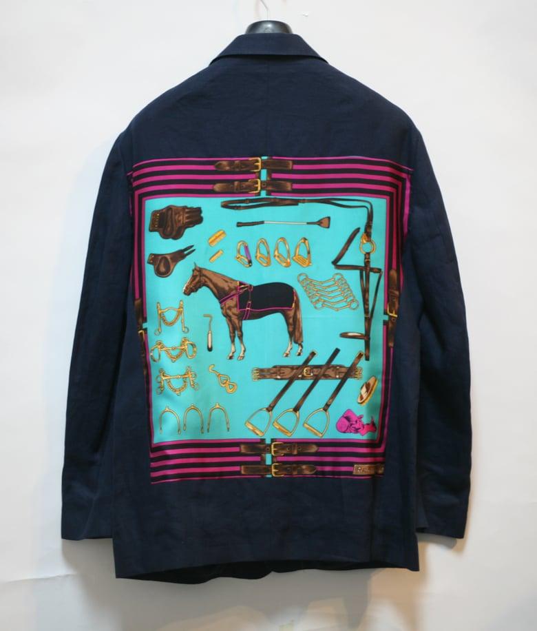 Image of NWT Vintage Polo Ralph Lauren Custom Silk Equestrian Scarf Linen Blazer