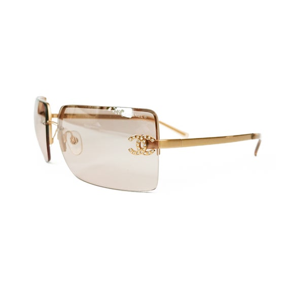 Image of Chanel CC Crystal Frameless Gold Sunglasses