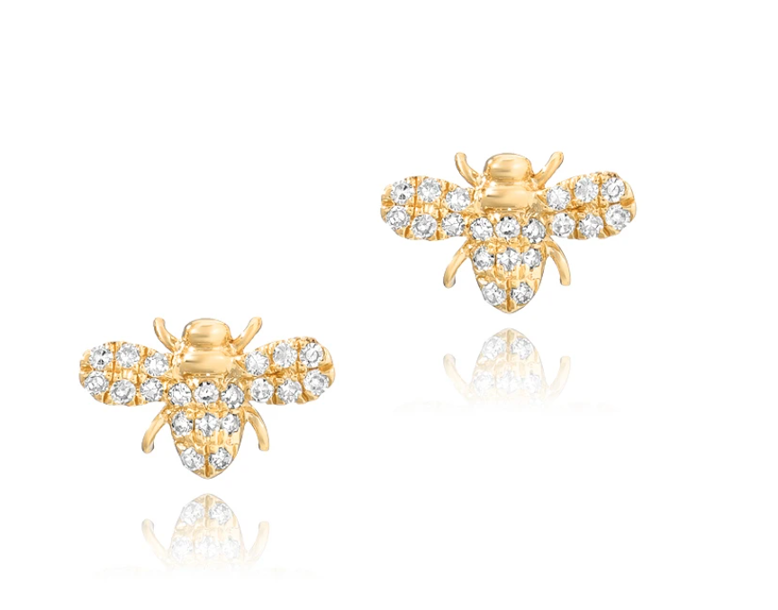 Image of   Bee Studs (two sizes) or Small Bee Necklace (14 kt yg and dia)
