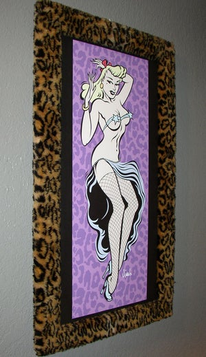 Image of PIN UP GIRL acrylic painting with fur frame